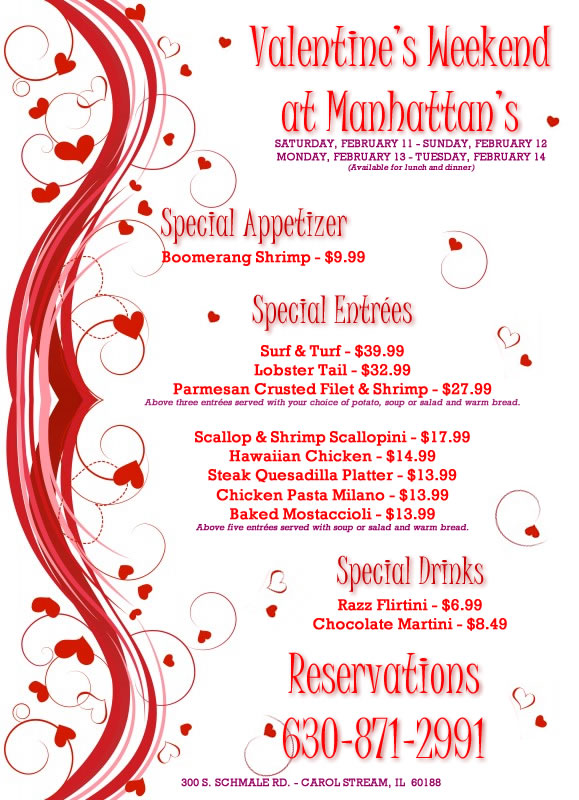 valentine's weekend at manhattan's in carol stream | manhattan's, Ideas