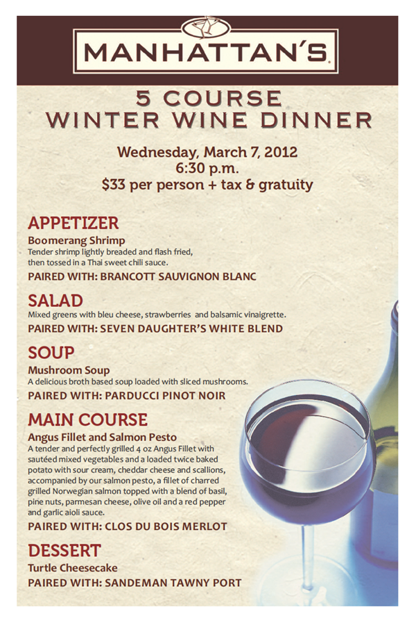 5 Course Winter Wine Dinner and Wine Pairing at Manhattan ...