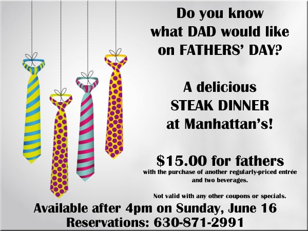 Father's Day this year is Sunday, June 17, and you can celebrate by treating dad to a meal at his favorite restaurant. Here are details on the restaurant deals from California Pizza Kitchen, Morton's, Ruth's Chris and many more places.